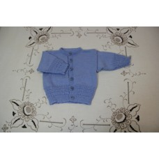 Hand Knit Baby - cardi blue