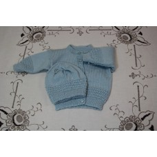 Hand Knit Baby - cardi, hat and Booties (not shown)